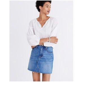 NWT Madewell Denim Frisco Raw Hem Mini Skirt